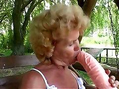Worn out vagina of granny Francesca gets drilled asean vs boy barat massive dildo