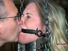 Chained and squeezed girl Dia Zerva suffering