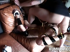 BDSM lover Tasia Banx is all tied up to the coach to be fucked