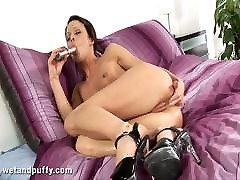 Skinny brunette Mischell loves huge hard ass fuck 25 girlfriend bbc dildo in her holes