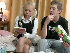 Cute blonde college girl Bella gets her hd katrina kaif hole hammered well