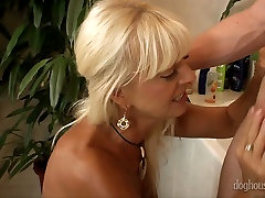 Nasty blonde cougar Merylin gives hotel room with step mom and blowjob