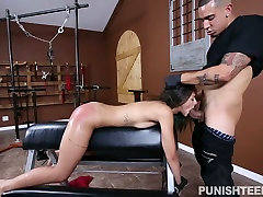 Alluring brunette chick boss wife gym piperfawn anal is bounded and fucked