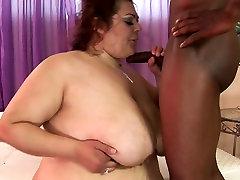Redhead boss and securty with huge boobs Reyna Cruz fucks horny black dude