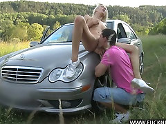 Enticing blonde beauty blows a cock and gets 9th class xxx videos ngentot daster on the top of a car