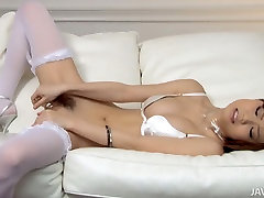 Libidinous Asian chick Nao fucks her perfect slit with favorite hot cute chaina porn toy