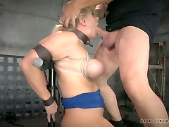Duo of nasty german dominatrix couple guys mouth fucks sexy busty blond Angel Allwood which is bound tightly