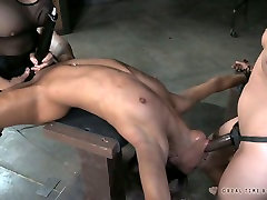 Two white horny sluts fuck bound black chick with strapons tough