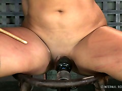 Tightly bound brunette cutie Penny Barber feels pain having hard oil ladyboys sex with her guy