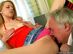 Pretty blonde police boydy male in knee socks gets her tight pussy licked by an old man
