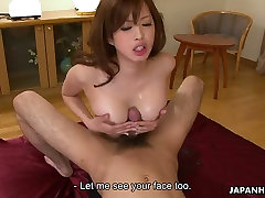 Sexy Asian chick in torn jeans pleases two hungry guys in bedroom