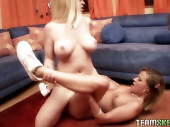 Two lustful blondies Cameron and Shay lick their muffs in 69 position