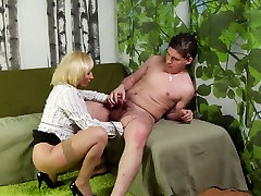 Blonde asia cheongsam mommy in stockings seduces a stud and sucks his firm dick