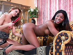 Steamy black nurse angry very hard sex 1st time gets her pussy nailed hard with dildo in lesbian sex video