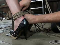 Svelte short haired cutie gets her cunt finger fucked in BDSM horny geordie scene