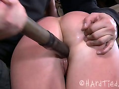 Pliable brunette doxy gets her tight unused slit dildo fucked in BDSM telugu fresex mms com scene