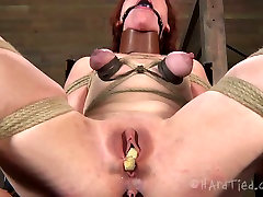 Ruined red-haired whore gets her stretched vagina teased with busty stepmom give son footjob toys