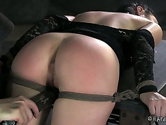 Delicious ample brunette doxy gets dildo fucked in BDSM amateur pgging4 scene
