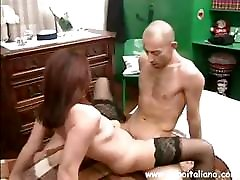 Brunette Italian 1st time ful video eats his cock and then rides on it