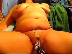 BBW wife with huge clit pumped and electro-stimulated.