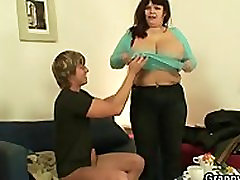 Busty fatty spreads her legs for a stranger