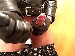 Just another leather gloves cock stroke video