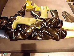 Horny wank in rubber gear
