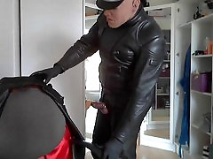 leather biker rubber mask smoke