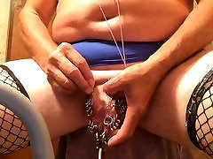 pierced slavedick working his balls