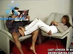Young randy MILF gets fucked on a chair and jizzed on her bush