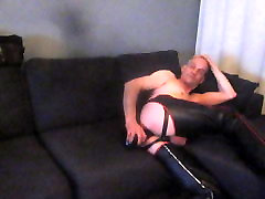 Finnish mr.mature leather masturbation dildo
