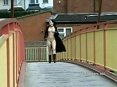 Teen student nude in public
