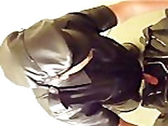Masturbating and shooting thick cum on my leather jacket