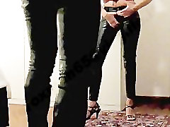 s044mov001 - Both in p leather jeans and high heels