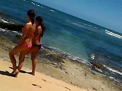 In my blue string bikini Following hot girls in bikinis