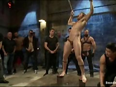 Tied up guy gets gangfucked