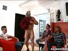 Guy have fun with naked male stripper