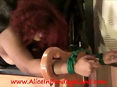 Tied Back Up BBW Rope Bondage Ebony FemSub