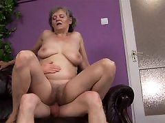 Granny plays with herself and a man,very wet
