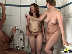 Mature, milf and teen in Bathroom