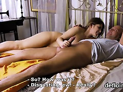 Lovesome girl spreads tight pussy and gets deflorated