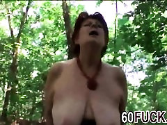 Chubby redhead granny Tamara blowjob pov outdoor