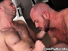 Ripped hairy bear sucking and fucking