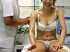 Ravishing Japanese babe in white underwear gets her hot bod