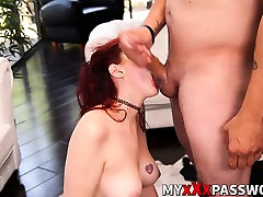 Sexy teny girls Amber Ivy getting throated hard by massive dick
