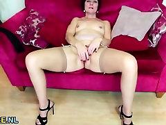 Redhead jav najella masturbating in stockings