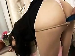 Sexy chick in nylons gets handed a vibrator and pulls down