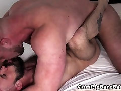 Chubby bear shoots his load over lovers ass