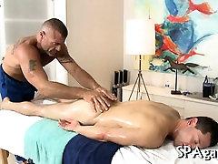 Hot hunk gets a deep ass fucking from gay massagist