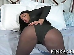 Gal in pantyhose knows she looks charming from behind